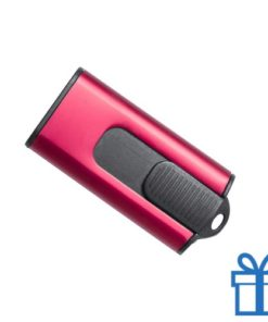USB stick aluminium modern 8GB rood bedrukken