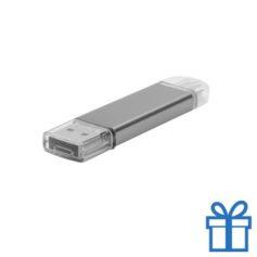USB stick aluminium type C 8GB zilver bedrukken