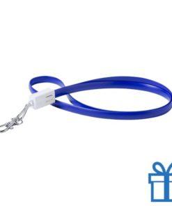 USB type-c lanyard karabijnhaak blauw bedrukken