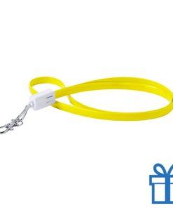 USB type-c lanyard karabijnhaak geel bedrukken