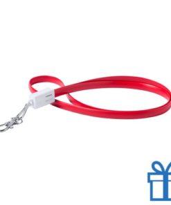 USB type-c lanyard karabijnhaak rood bedrukken