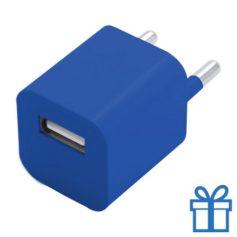 Universele USB oplader 1000 mAh blauw bedrukken