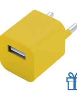 Universele USB oplader 1000 mAh geel bedrukken