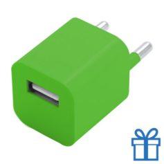 Universele USB oplader 1000 mAh groen bedrukken