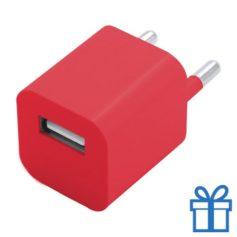 Universele USB oplader 1000 mAh rood bedrukken