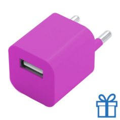 Universele USB oplader 1000 mAh roze bedrukken