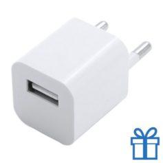 Universele USB oplader 1000 mAh wit bedrukken