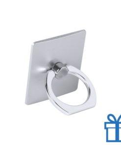 Vierkante mobiele houder zilver bedrukken