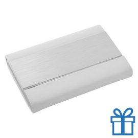 Visite kaart houder PU leder geborsteld wit bedrukken