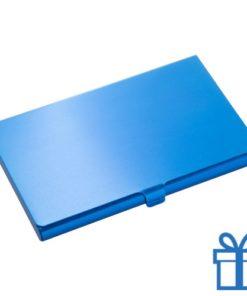 Visite kaart houder alu blauw bedrukken