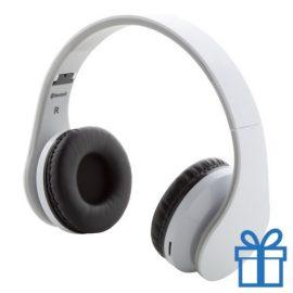 bluetooth hoofdtelefoon inklapbaar wit bedrukken