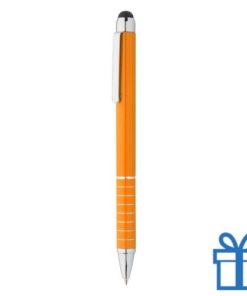 Alu met stylus balpen oranje bedrukken
