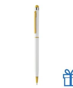 Alu touchscreen balpen stylie geel bedrukken