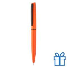 Aluminium balpen in machting geschenkverpakking oranje