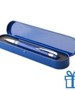 Aluminium balpen tinnen doosje blauw