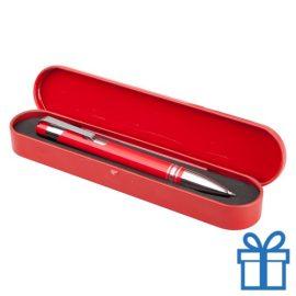 Aluminium balpen tinnen doosje rood