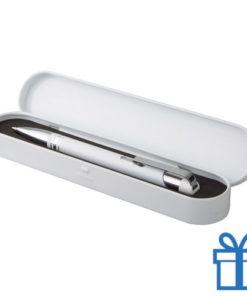 Aluminium balpen tinnen doosje wit