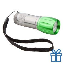 Aluminium sleutelhanger LED groen bedrukken