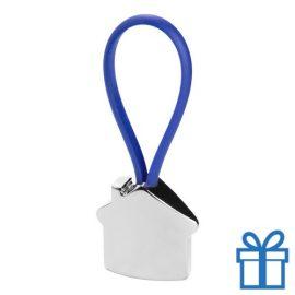 Aluminium sleutelhanger gekleurd touw blauw bedrukken