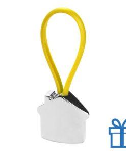 Aluminium sleutelhanger gekleurd touw geel bedrukken