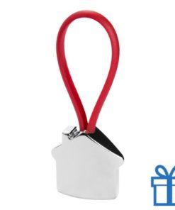 Aluminium sleutelhanger gekleurd touw rood bedrukken