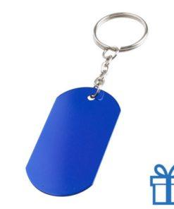 Aluminium sleutelhanger metalen ring blauw bedrukken