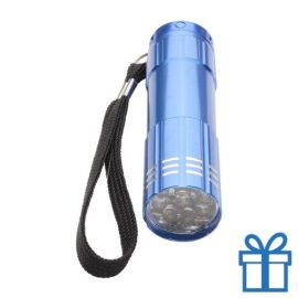 Aluminium zaklamp 9 LED blauw bedrukken