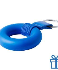 Anti stress ring sleutelhanger blauw bedrukken