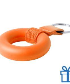 Anti stress ring sleutelhanger oranje bedrukken