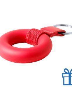 Anti stress ring sleutelhanger rood bedrukken