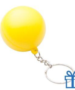 Anti stress sleutelhanger bal geel bedrukken