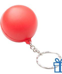 Anti stress sleutelhanger bal rood bedrukken