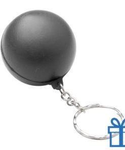 Anti stress sleutelhanger bal zwart bedrukken