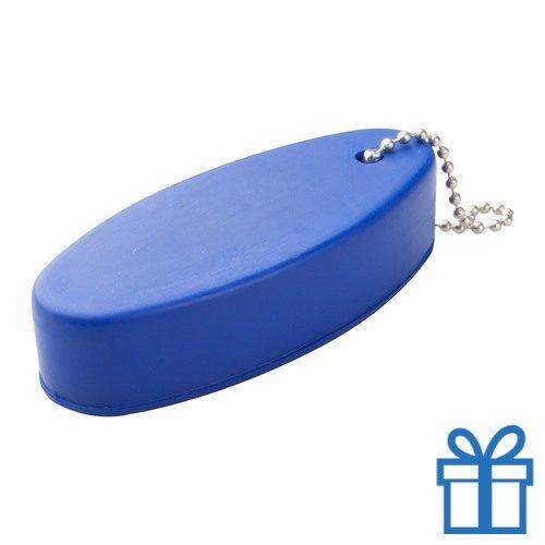 Anti stress sleutelhanger ovaal blauw bedrukken