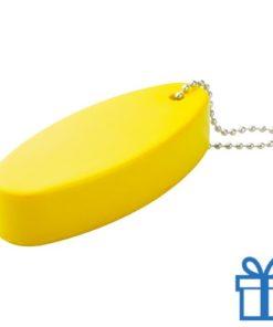 Anti stress sleutelhanger ovaal geel bedrukken