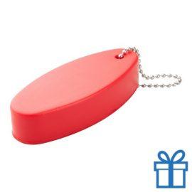 Anti stress sleutelhanger ovaal rood bedrukken