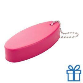 Anti stress sleutelhanger ovaal roze bedrukken