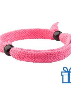 Armband unisex verstelbaar roze bedrukken