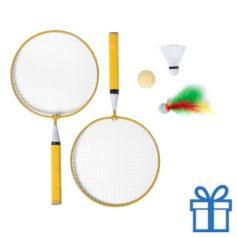 Badminton set geel bedrukken