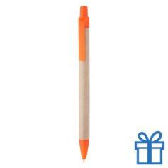 Balpen gerecycled papier oranje bedrukken