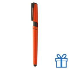 Balpen plastic met stylus oranje