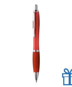 Balpen rubberen grip gekleurd handvat rood
