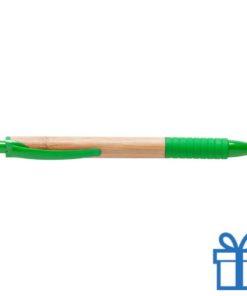 Bamboe balpen rubberen grip groen