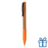 Bamboe balpen rubberen grip oranje