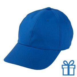 Baseball cap katoen klittenbandsluit blauw bedrukken