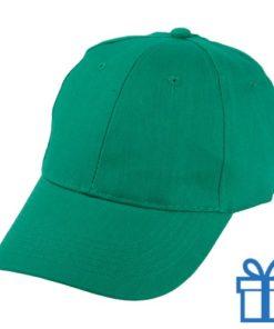 Baseball cap katoen klittenbandsluit groen bedrukken