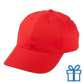 Baseball cap katoen klittenbandsluit rood bedrukken