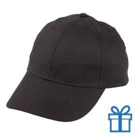 Baseball cap katoen klittenbandsluit zwart bedrukken