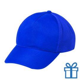 Baseball pet 5 panelen plastic poly fiber blauw bedrukken