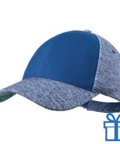Baseball pet polyester 6 panelen klittenband blauw bedrukken